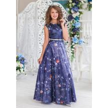 Платье нарядное в пол синего цвета Персея