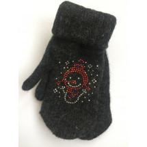 Варежки зимние темно-серого цвета со снеговиком
