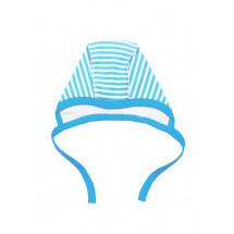 Чепчик для малышей в голубую полоску с голубой окантовкой