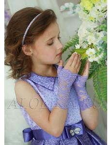 Митенки сиреневые кружевные на девочку Незнакомка (7-12 лет)