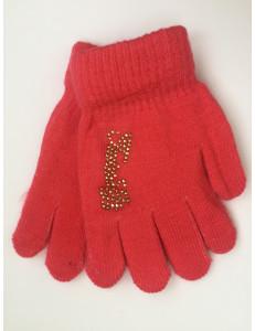 Перчатки осенние ярко-розового цвета с золотыми стразами