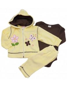 Комплект велюровый желтый с коричневым на малышку тройка