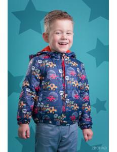 Куртка демисезонная для мальчиков синего цвета с машинками