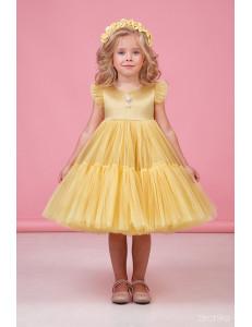 """Платье нарядное золотистое для девочек с многослойной юбкой """"Одуванчик"""""""
